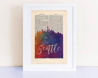 Seattle City Skyline Print on a vintage encyclopedia page (unframed), home decor wall art, Seattle Skyline
