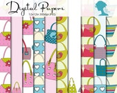 Fashion Purse/Handbags Digital Scrapbooking Paper Pack, Buy 2 Get 1 FREE. Instant Download