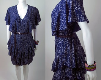 80s NAVY stretch crepe ruffled polka dot dress with ruffled tiered skirt