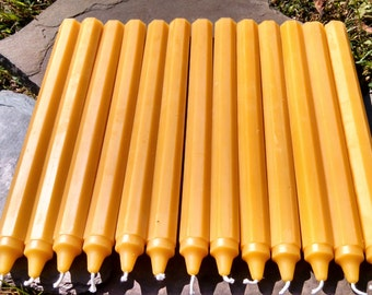 "100% Beeswax Taper Candles - 12 Colonial Octagon Beeswax 10"" Taper  - Free Ship! -"