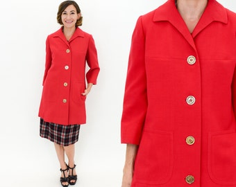 60s Red Double Knit Wool Coat | Don Loper Beverly Hills | Medium Large