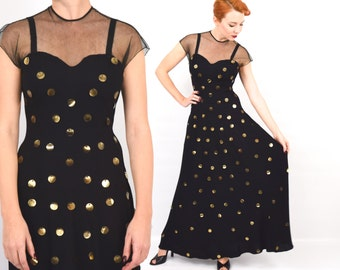 40s Black Crepe Evening Gown  | Illusion Top Dress with Gold Sequins | Small