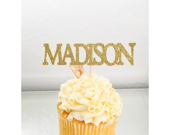 Custom Name Cupcake Toppers, birthday name topper, name cupcake topper, baby shower decor, 30th, 40th, 50th, 1st birthday- Up to 8 letters