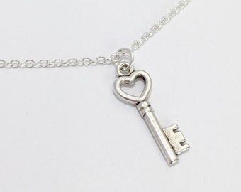Silver Key Necklace/Heart Key Necklace/Skeleton Key Necklace