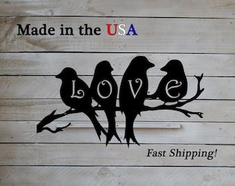 Love Birds On A Limb, Metal Art, Outdoor Wall Art, Love Decor, Country Decor, Metal Sign, Indoor, Heart Decor, Wedding Decor, S1163