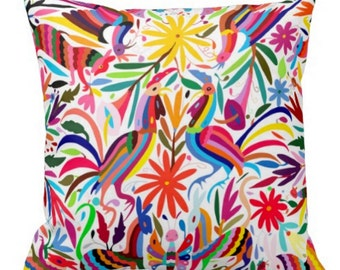 """Colorful Otomi Throw Pillow Cover, Boho/Ethnic Mexican Animal & Nature Print 16 or 20"""" Pillows or Covers"""