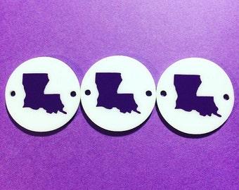 Louisiana Purple on White 2 hole disc, jewelry making, bangle bracelet, gift, handmade beads, 1.25 inch, louisiana beads, louisiana jewelry