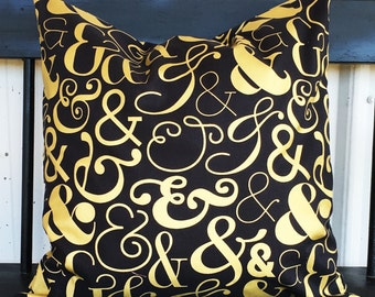 Black and gold Pillow cover 18x18 living room pillow abstract design black and gold pillow covers