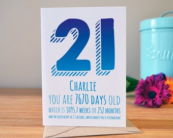 21st birthday card | Personalised birthday card | Days, weeks, months, decades | Age card