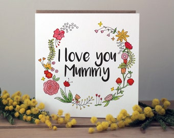 Mother's Day card for Mummy   A beautiful, floral mothers day card   Birthday card for Mum