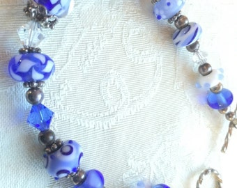 Beautiful glass bead blue necklace