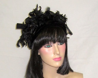 1960's Black Velvet Hat with Silk Florets and Bows Made for Lord and Taylor
