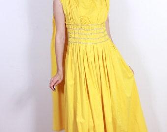 1940s Yellow Cotton Greek Godess Dress
