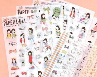Korean PAPERDOLL Diary Planner Sticker (6 sheets)