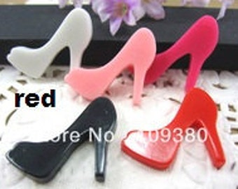 Red high heels 2pc resin cabochon diy pumps shoes