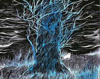 Midnight Tree & White Wolf