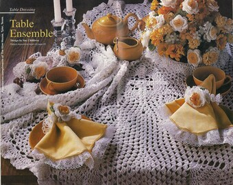 """Tablecloth, Centerpiece, Napkin Rings Crochet Pattern Thread Floral 40"""" Square Table Cloth P-055"""