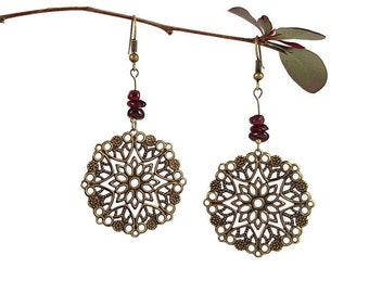 Statement jewelry Red garnet jewelry Large statement earrings Bronze chandelier earrings Natural garnet earrings Large earrings dangle Mayi