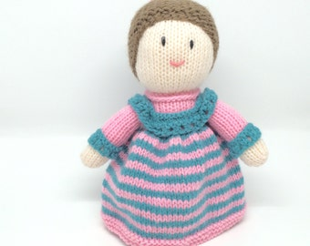 Knitted doll Soft toy. Traditional doll. Handknitted. Pink and teal.