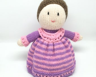 Knitted doll Soft toy. Traditional doll. Handknitted. Pink and Purple.