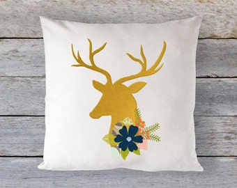 20x20 Pillow Cover AND PILLOW INSERT - Deer Decor - Floral Decor - Gold