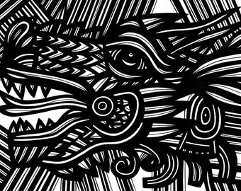 Chinese Dragon Mythical Black and White Original Drawing 8.5 x 11 Marker on Paper