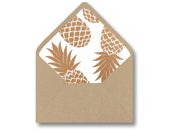 Printable Envelope Liner Template Gold Pineapple Diy Wedding