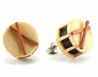 "Hand Carved - ""Drum"" - Crocodile Wood with Ebony Wood and Sabo Wood Inlay - Stud Earring - Urban Music"