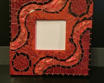 Lava mosaic & mixed media mirror