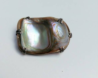 Beautifull mother of pearl vintage silver brooch pendant