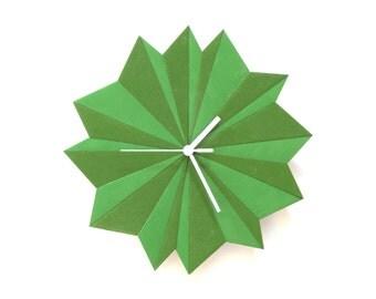 Horloge murale en bois - Origami Vert