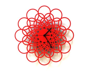 Rings red M - unique contemporary wooden wall clock made of natural materials, wall art