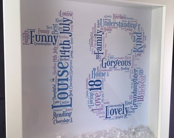 Number Word Art ( 23x23cm), Birthday Gift, Memories, Home Decor