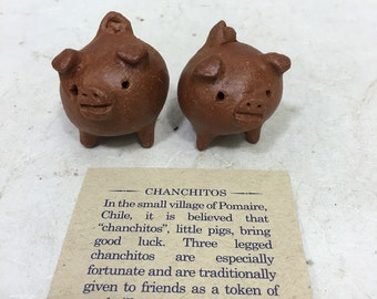 Chilean Pig Clay 3 Legged Good Luck Handmade Handcrafted Clay Pig Sculpture Good Luck Fortune Cute Fun Gift for Him Gift for Her Home Decor