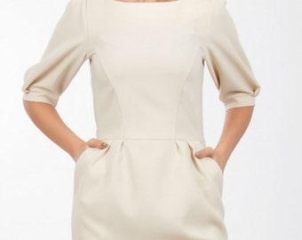 Autumn Spring dress Elegant dress knee Occasion Dress Dress With Pockets Formal Dress Ivory Dress