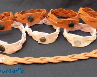 Braided Suede and Leather bracelets with snap closure by RainbowMaille