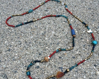necklace/bracelet with semi-precious gemstones and vintage glass beads