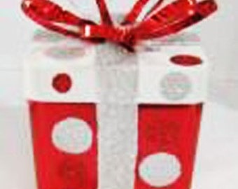 """4"""" Red White Silver Metal Giftbox w Bow, Ornament, Holiday Wreath decor - CS3314"""