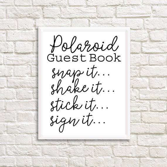 Polaroid Guest Book: Polaroid Guest Book Sign Wedding Printable By
