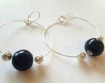 Black and silver beaded hoop earrings