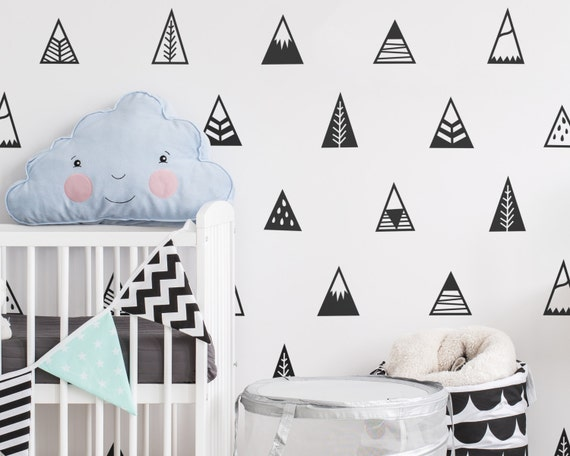 Mountain wall decals nursery decals triangle decals geometric decals vinyl wall decals