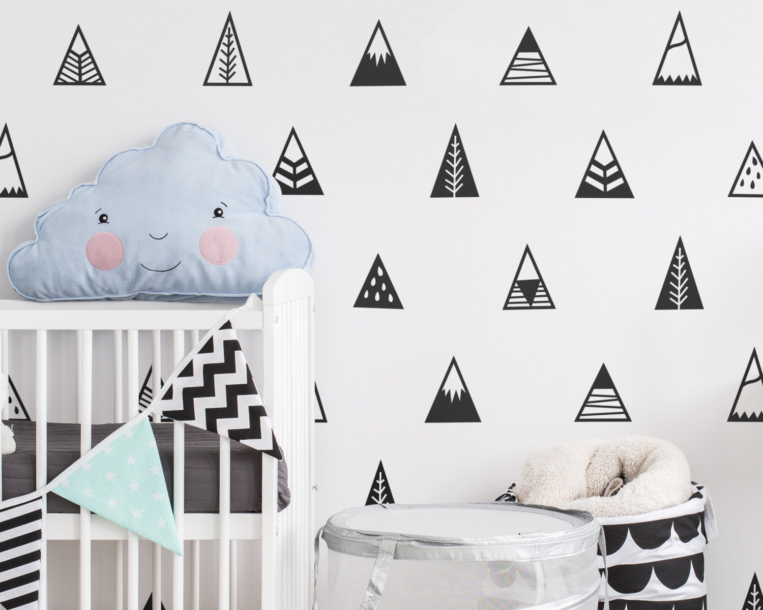 Mountain wall decals nursery decals triangle decals zoom amipublicfo Choice Image