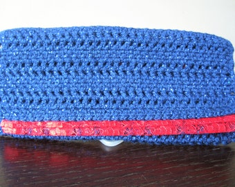 Glamorous crocheted clutch - 'Red and Blue'