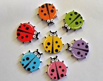 7 Large LadyBug Buttons  - #SB - 00266