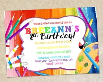 Art Party Invitation TEMPLATE, Colorful Painting Drawing Crafts Invite - Word Doc Template - DIY - You Create