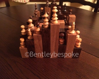 Rough Terrain' chess board in oak/mahogany