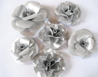 6 Silver Paper Roses, Stem Flowers, Large Paper Flower, Big Rose, Silver Flower, Paper Wedding Decor, Table Centerpiece, Winter Wedding