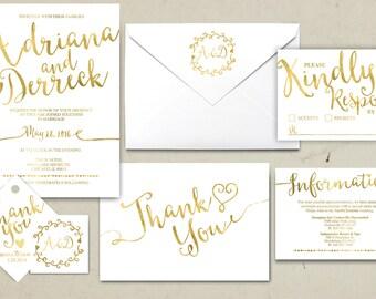 Wedding Invitation Printable, Kraft,Wedding Invitation Suite, RSVP, monogram, info card, hand lettered typography theme. Gold