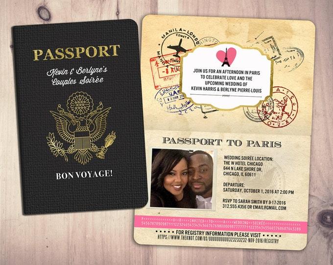 Paris PASSPORT, couples shower, wedding shower, travel birthday invitation, customized passport, travel party, wedding invitation