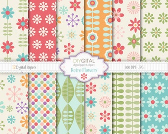 Retro Flowers digital paper pack- 12 Spring digital papers with colorful retro flowers and leaves-Spring floral backgrounds for scrapbooking